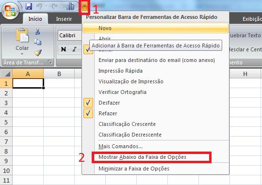 Barra de acesso rápido – Microsoft Excel