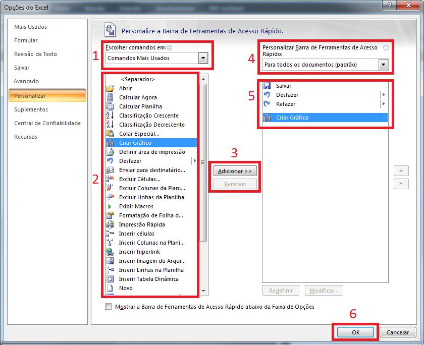 Explicando itens do menu para Personalizar a barra de acesso rápido – Microsoft Excel
