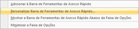 Personalizar barra de acesso rápido – Microsoft Excel