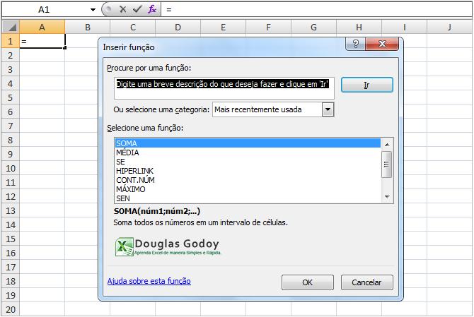 Assistente de Funções - Microsoft Excel.