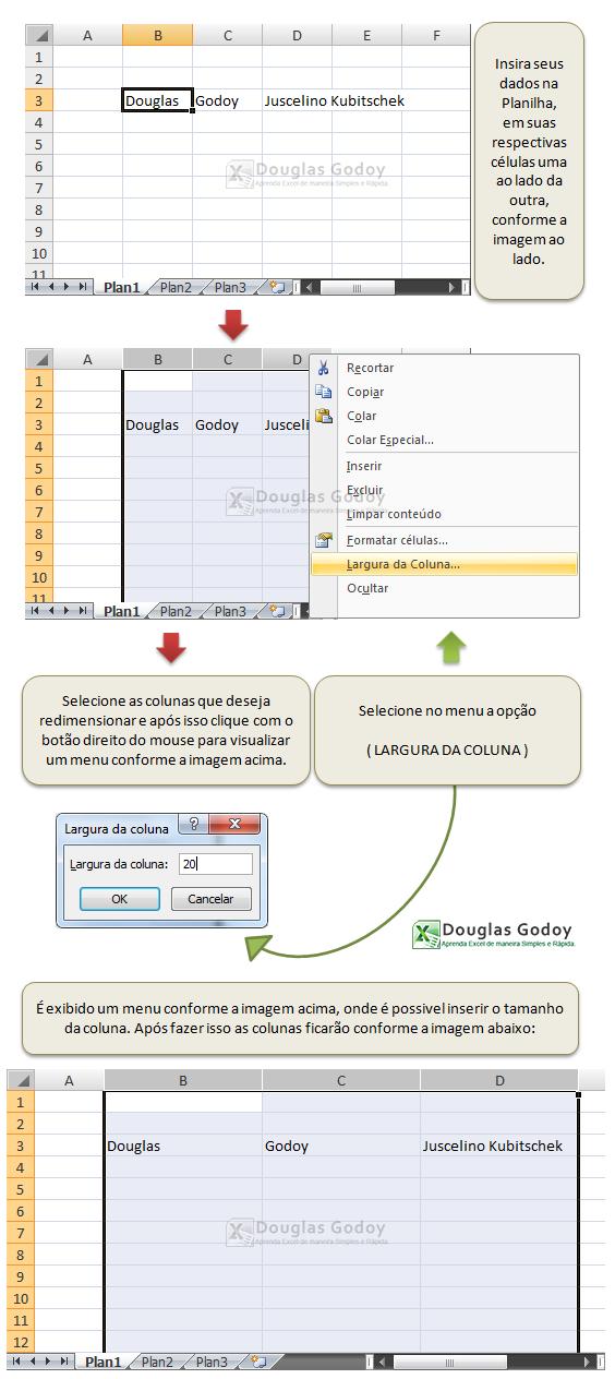 Processo para ajustar mais de uma coluna no Microsoft Excel