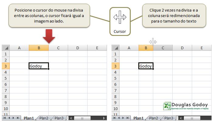 Trabalhando com linhas e colunas - Ajustando colunas - Microsoft Excel