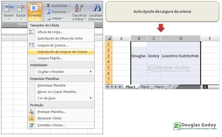 Trabalhando com linhas e colunas - Auto Ajuste de Colunas - Microsoft Excel
