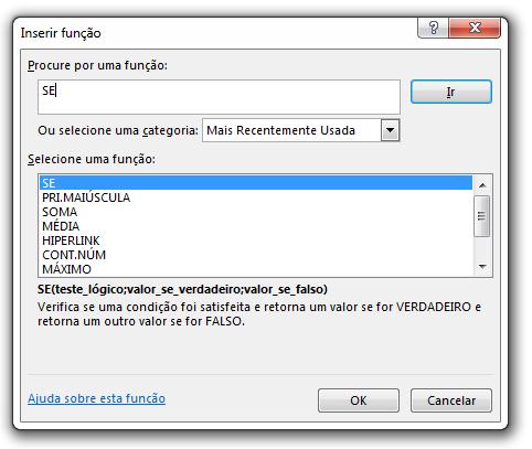 Assistente de Função Microsoft Excel - SHIFT + F3