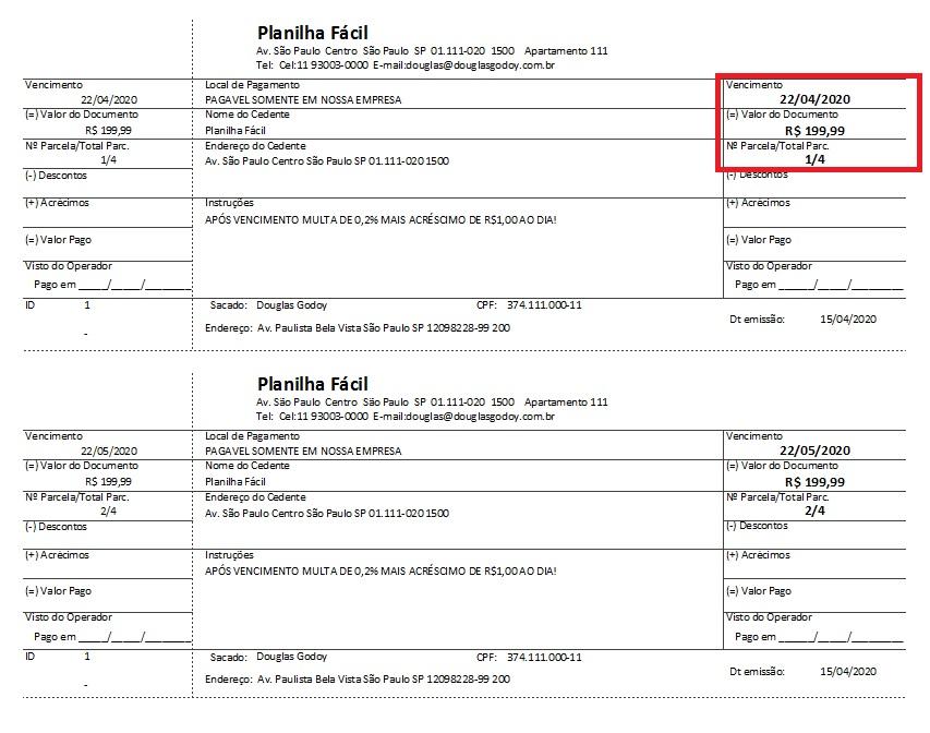 Carnê de Pagamento Impresso - Controle de Mensalidades e Controle de Pagamentos