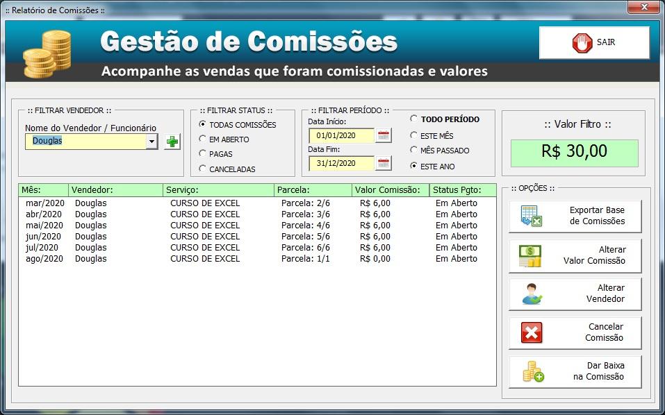 Comissão de Vendedores - Controle de Mensalidades e Controle de Pagamentos