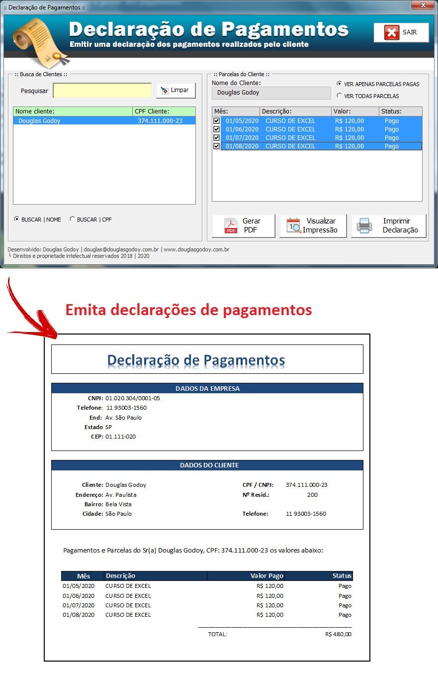 Declaração de Pagamentos - Controle de Mensalidades e Controle de Pagamentos