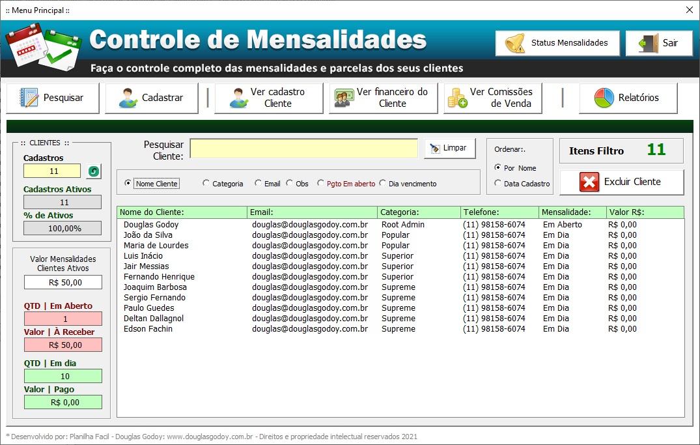 Pesquisa de Clientes - Controle de Mensalidades e Controle de Pagamentos