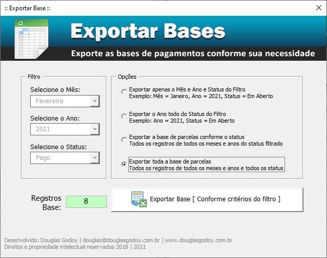 Exportação de Bases - Controle de Mensalidades e Pagamentos