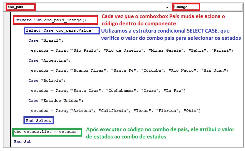 Combobox dependentes explicação de códigos