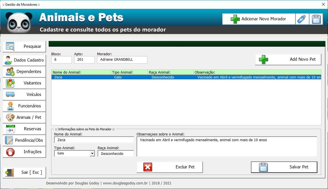 Planilha de cadastro e controle de moradores para condomínio cadastro de animais